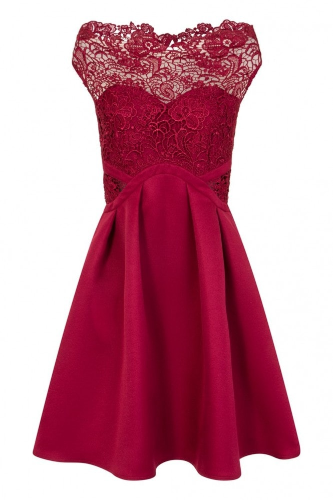 Little Mistress Brooke Crochet Top Bardot Prom Dress