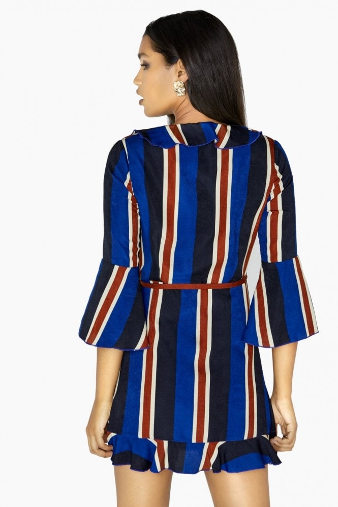 Outrageous Fortune Stripe Wrap Dress