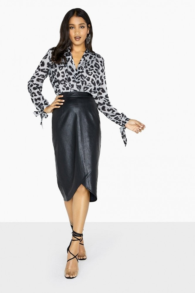 Girls on Film Leopard Mock Wrap Bodysuit