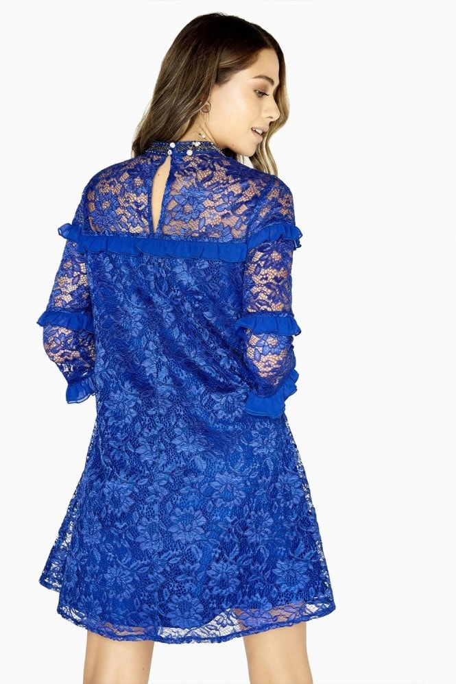 Little Mistress Maria Lace Shift Dress With Frills