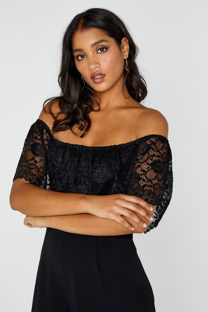 Outrageous Fortune Lace Flounce Wide Leg Jumpsuit