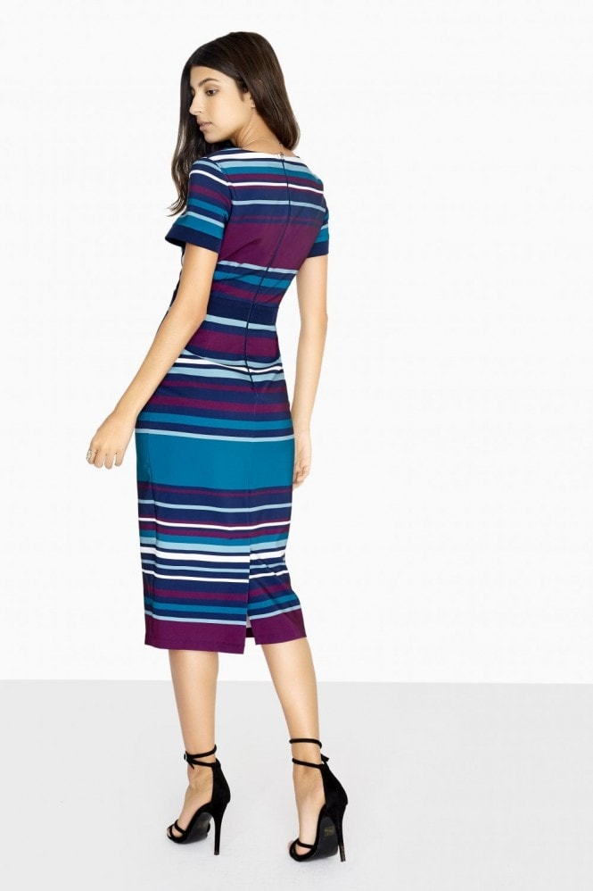 Paper Dolls Adelaide Mock Wrap Dress With Striped Skirt