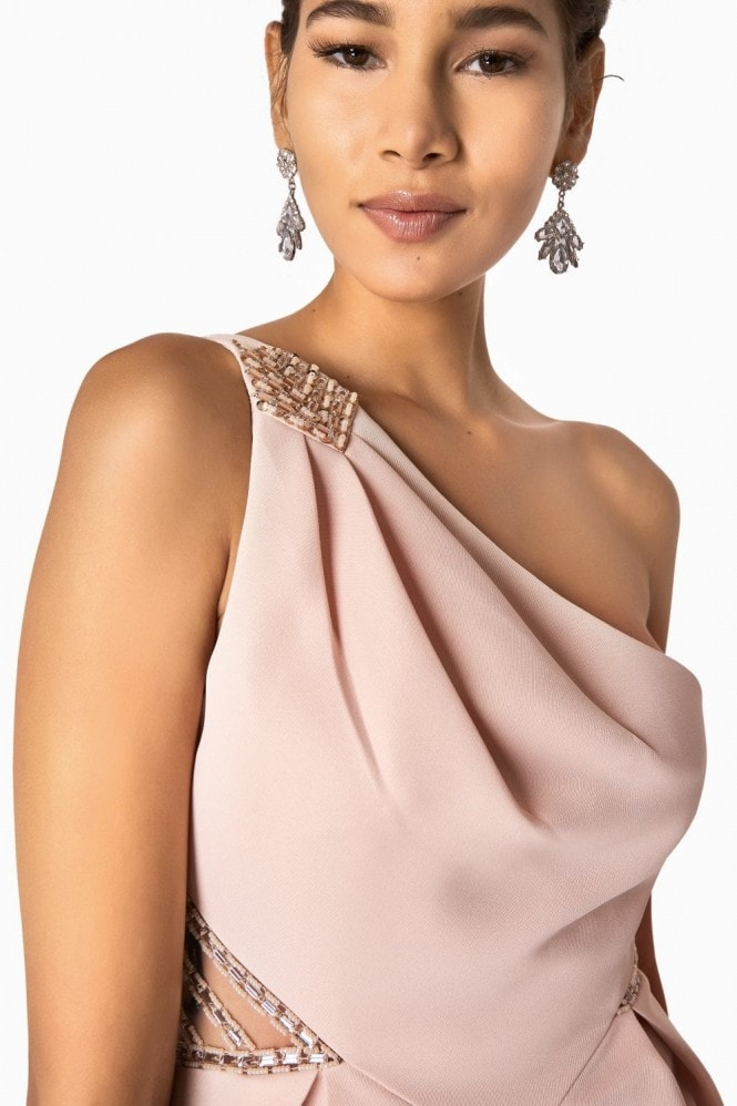 Little Mistress Annie One Shoulder Prom Dress With Jewel Trim