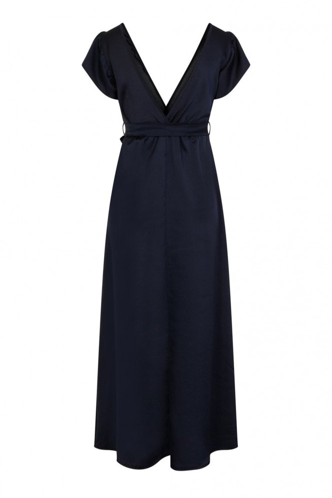 Pucci Navy Silky Plunge Maxi Dress