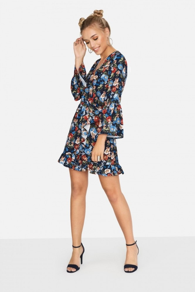 Girls on Film Harlem Wrap Dress in Navy Floral