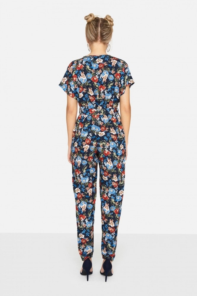 Girls on Film Aden Wrap Jumpsuit In Navy Floral