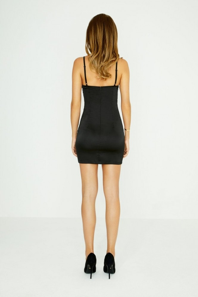 Studio Mouthy Black Cami Satin Bodycon Dress