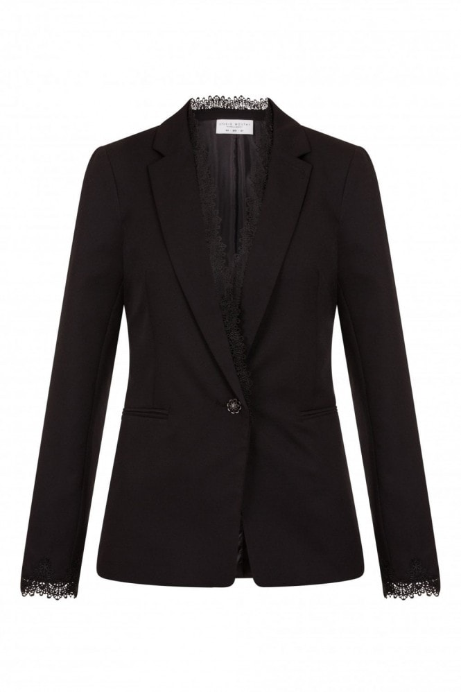 Studio Mouthy Black Lace Trim Blazer