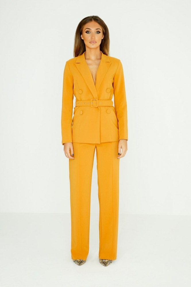 Studio Mouthy Mustard Double-Breasted Belted Blazer