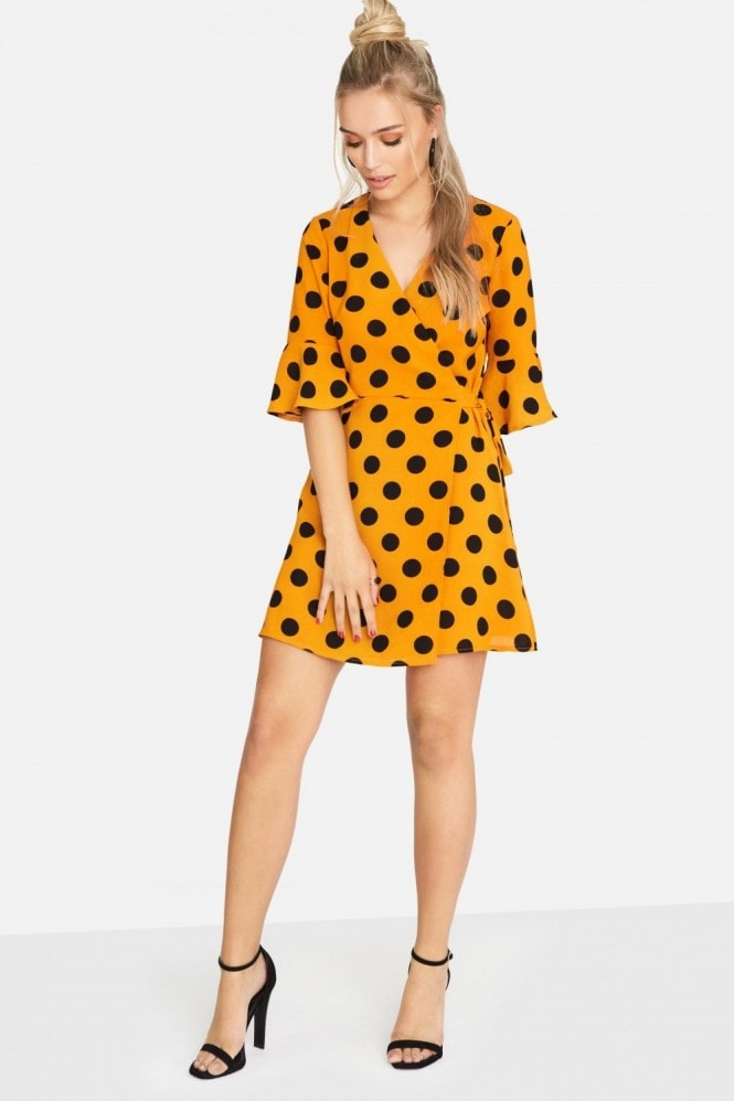 Girls on Film Solar Wrap Dress In Polka Dot