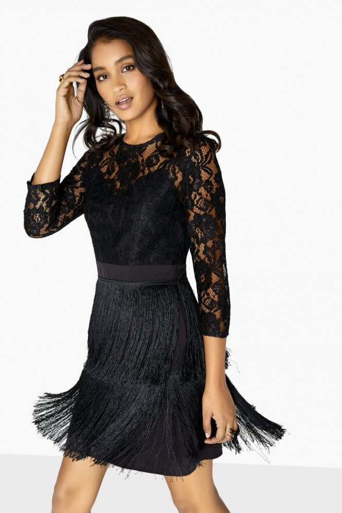 Little Mistress Bonnie Lace And Fringe Dress