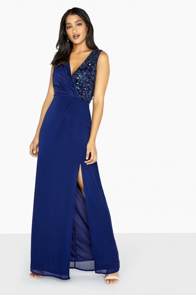 Little Mistress Luxury Penny Open Back Maxi Dress