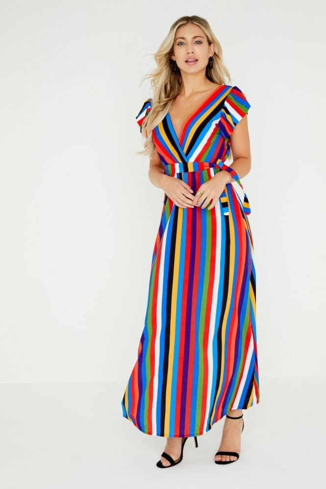 Girls on Film Frieda Bold Stripe Maxi Dress