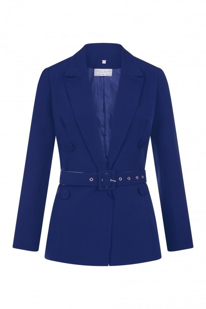 Studio Mouthy Navy Double-Breasted Belted Blazer