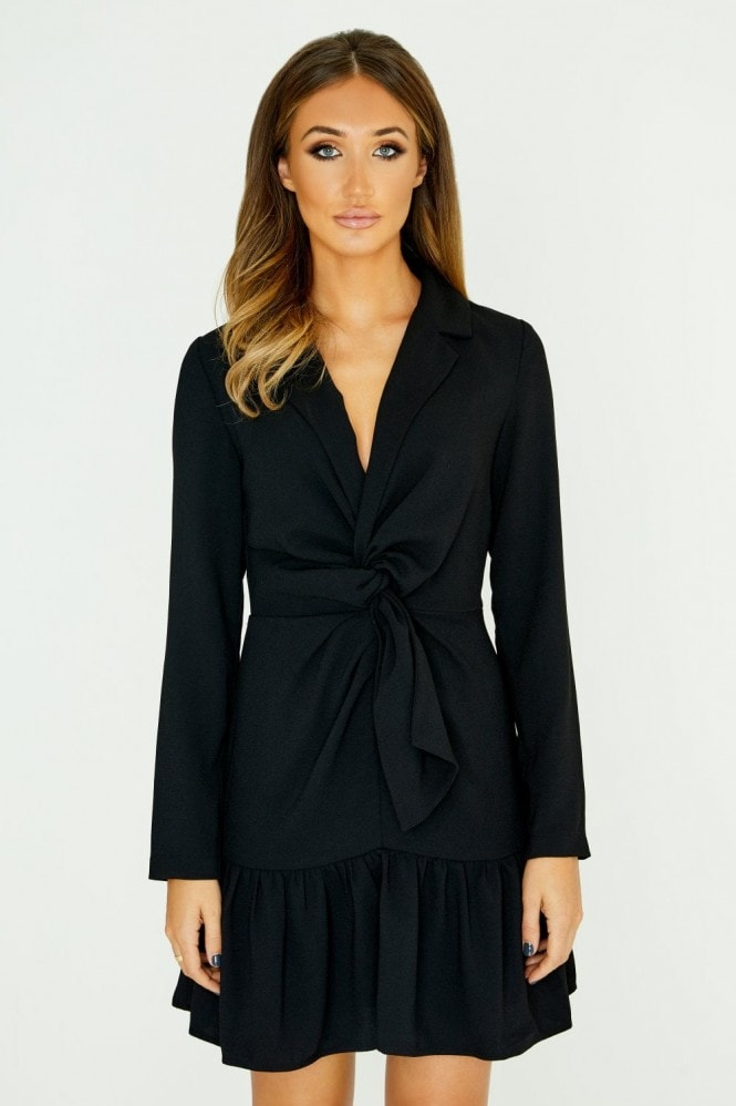 Studio Mouthy Black Tie Front Mini Dress