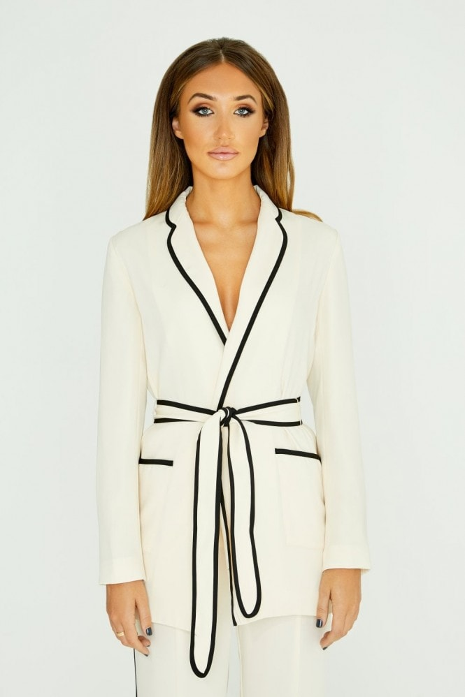 White Belted Blazer With Piping