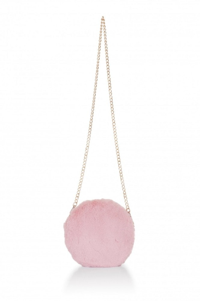 Pink Round Fur Clutch Bag