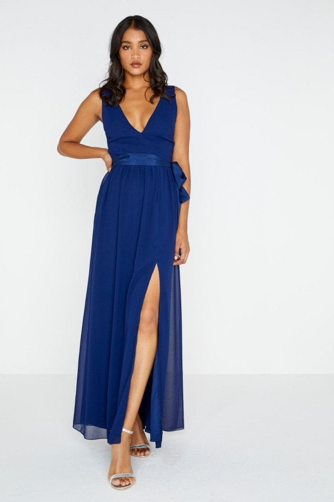 Navy Plunge Tie Maxi Dress