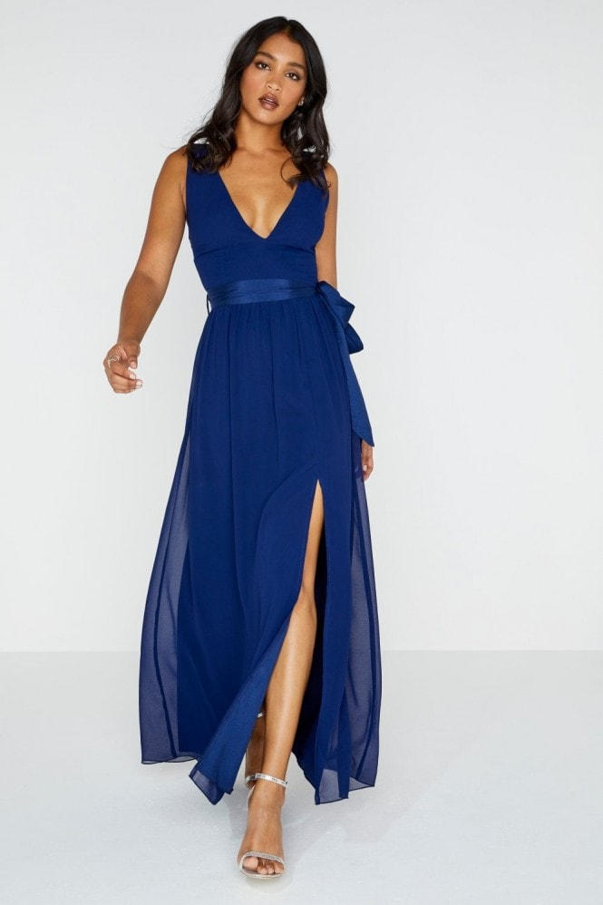 Little Mistress Navy Plunge Maxi Dress With Tie