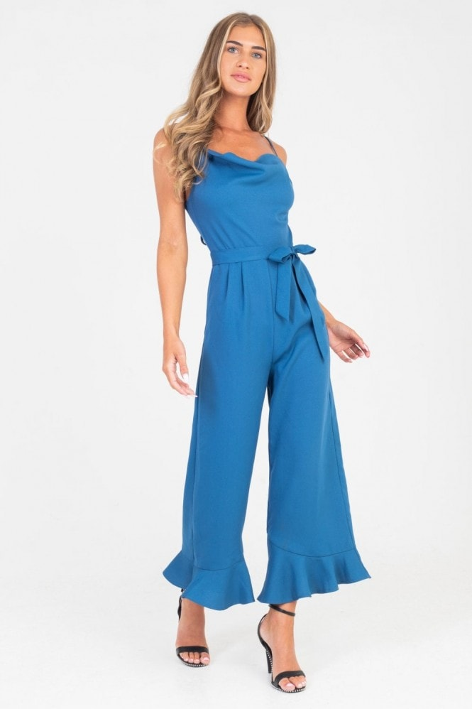 Rio Cowl Neck And Frill Hem Jumpsuit