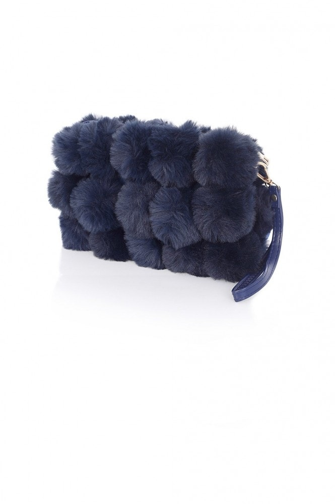 Pom Pom Fur Clutch Bag In Navy