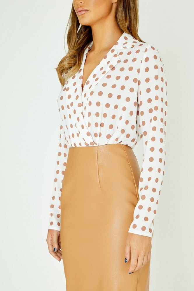 Studio Mouthy Mock Wrap Bodysuit In Polka Dot