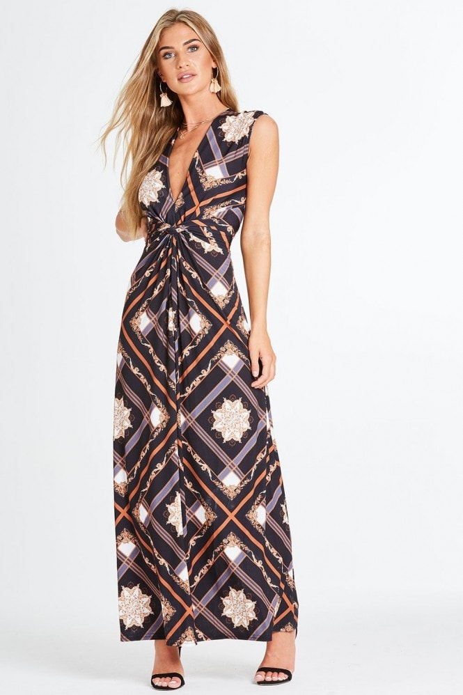 Entice Plunge Dress With Knot Waist