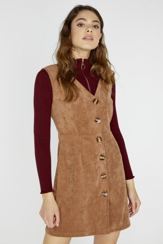 Girls on Film Percy Corduroy Dress With Buttons