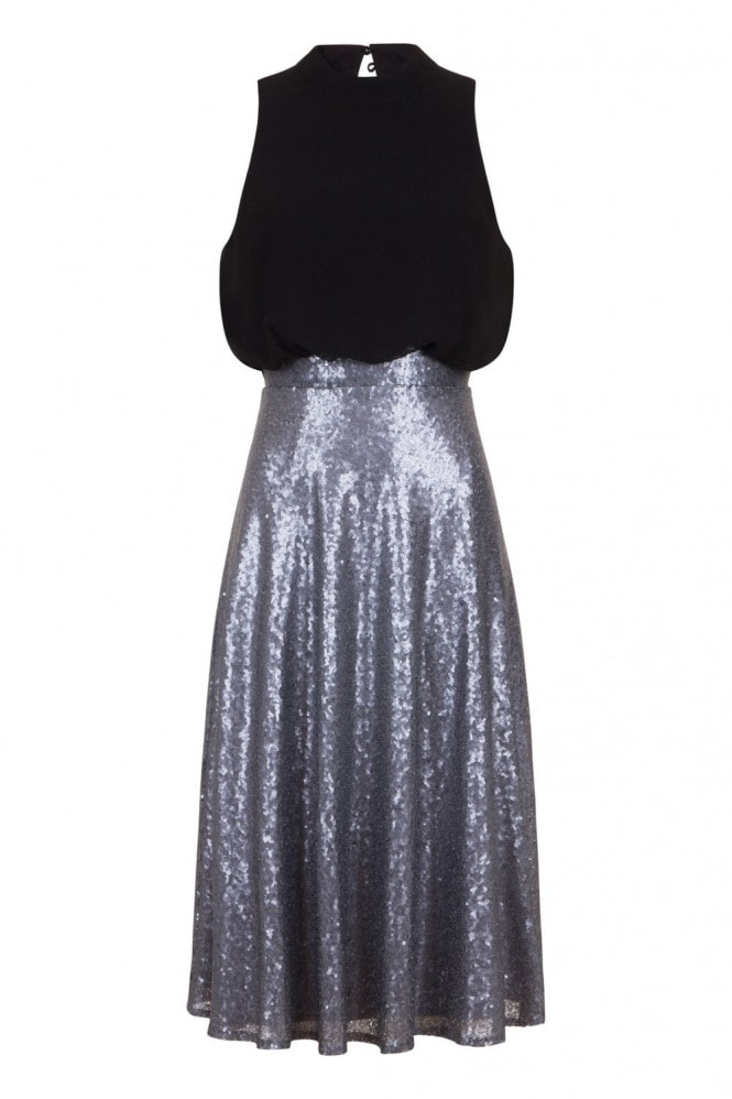 Little Mistress Celine Sequin Skirt Dress