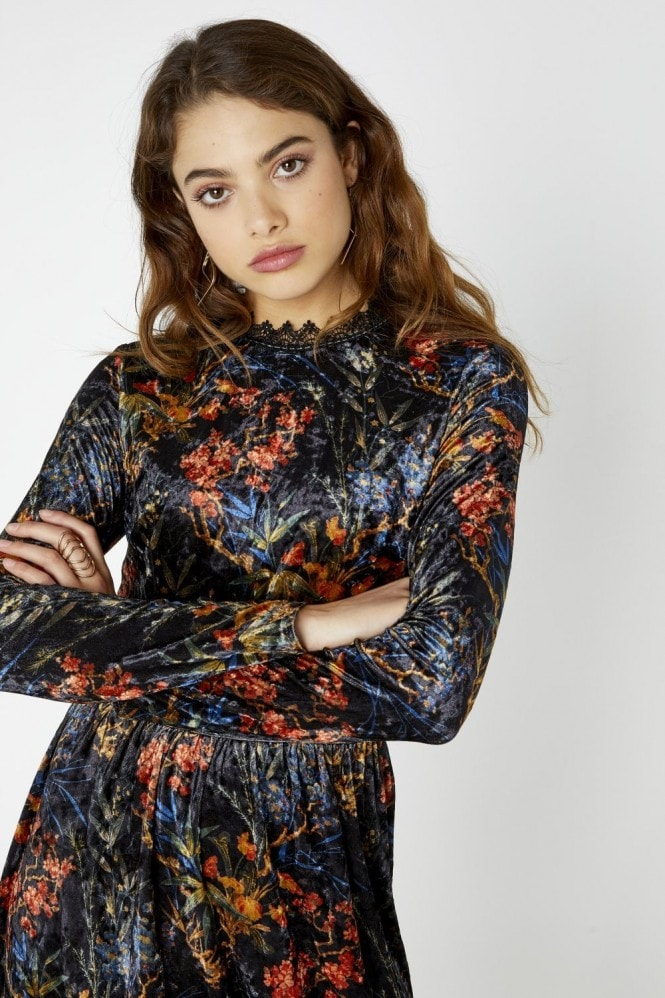 Girls on Film Narcissa Floral Print Velvet Midi Dress