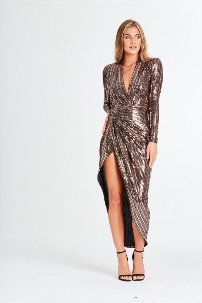 Divine Metallic Wrap Dress