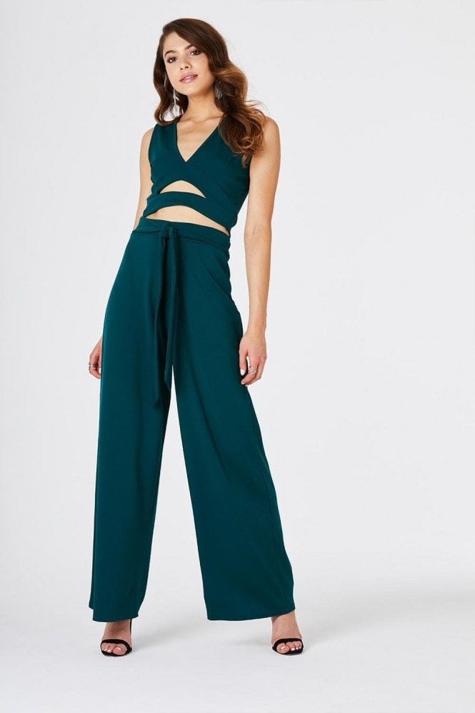 Girls on Film Lilia Green Plunge Crop Top