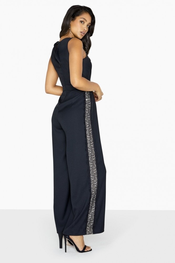 Little Mistress Adele Lace Side Stripe Jumpsuit
