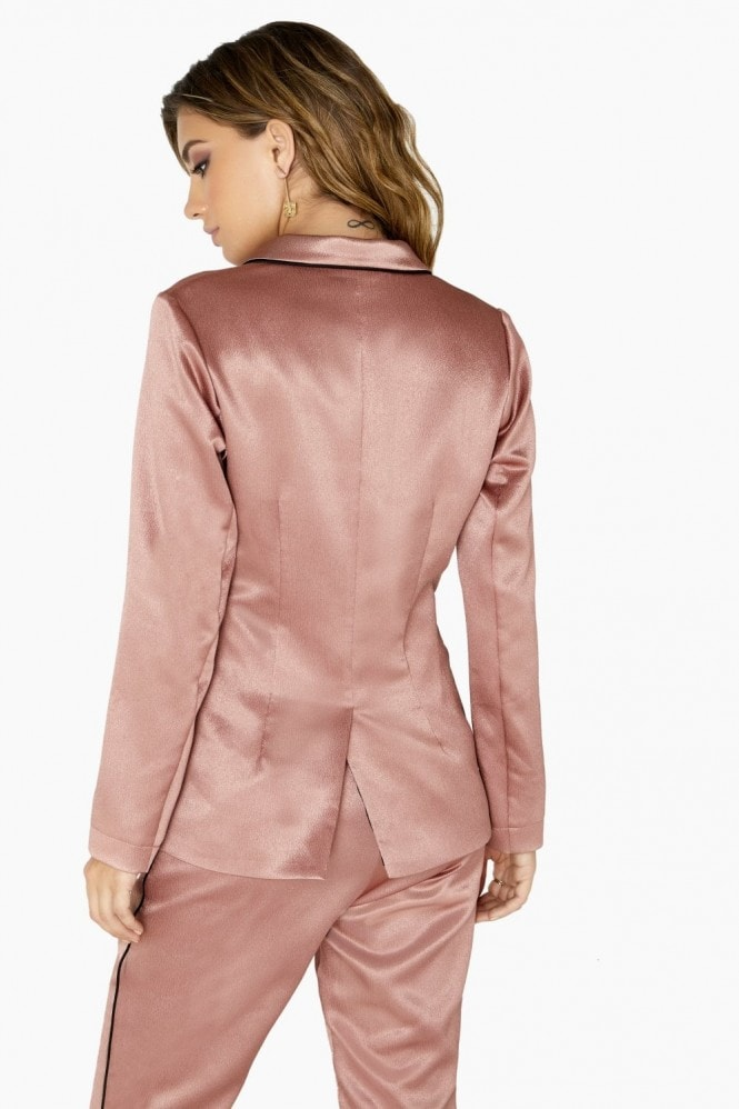 Little Mistress Whitney Contrast Piping Satin Blazer