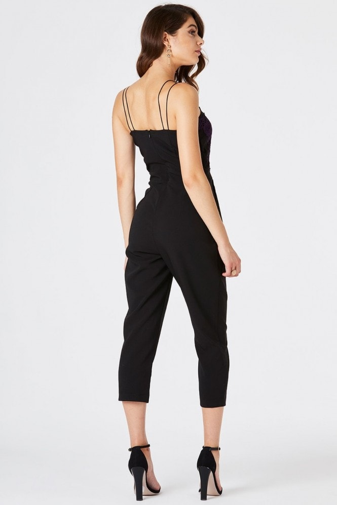 Girls on Film Florence Black Embroidered Jumpsuit