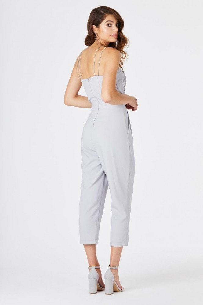 Girls on Film Florence Grey Embroidered Jumpsuit