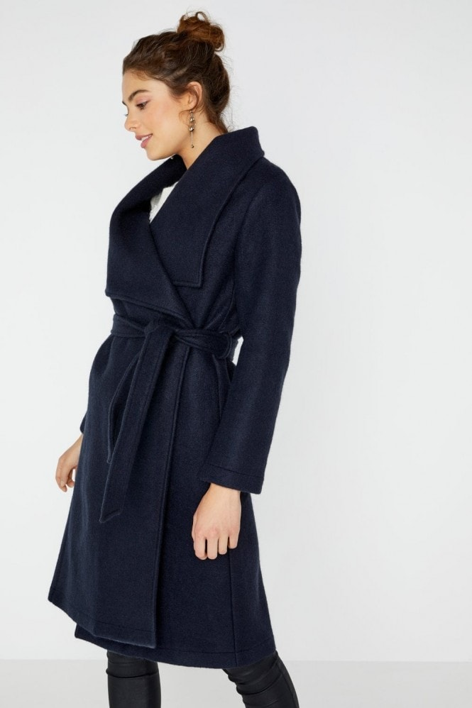 Girls on Film Abbott Navy Wrap Coat