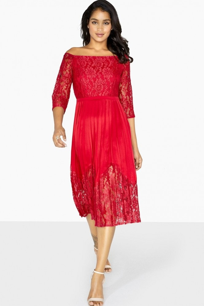 Little Mistress Evalina Bardot Lace Midi Dress