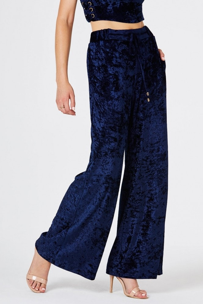 Girls on Film Emily Palazzo Trousers In Navy Velvet