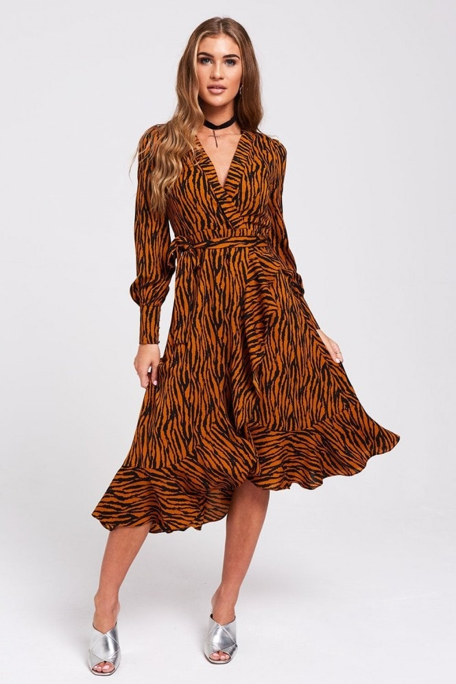 Sway Wrap Dress In Tiger