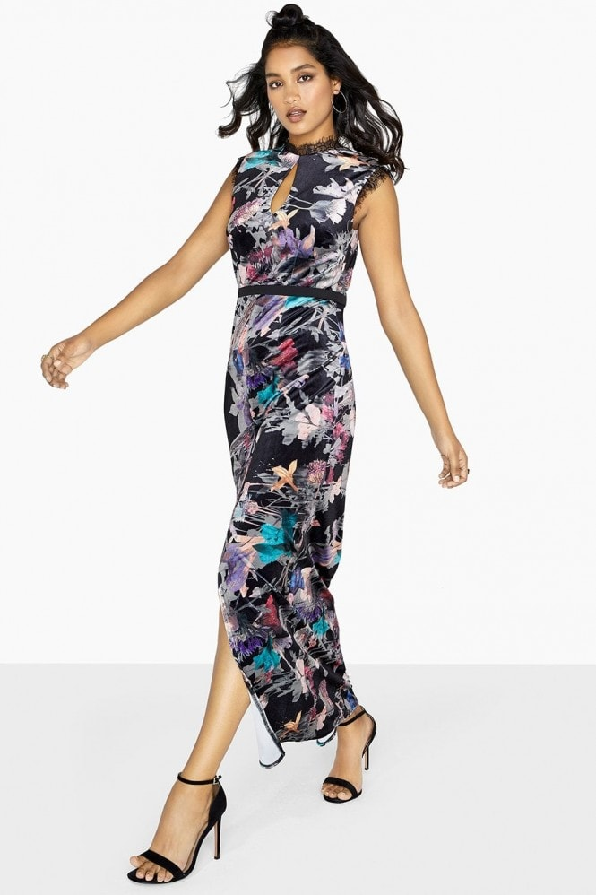Little Mistress Etta Velvet Floral Column Maxi Dress