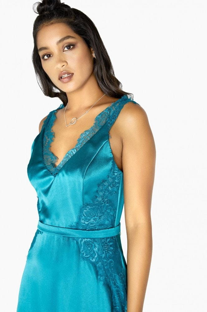 Lulu Satin Slip Lace Trim Dress