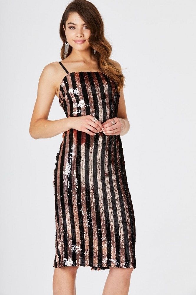 Outrageous Fortune Sequin Stripe Bodycon Dress