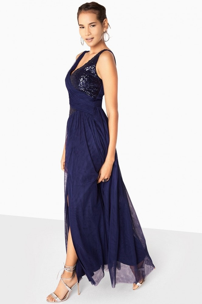Little Mistress Bonnie Sequin Mesh Maxi Dress