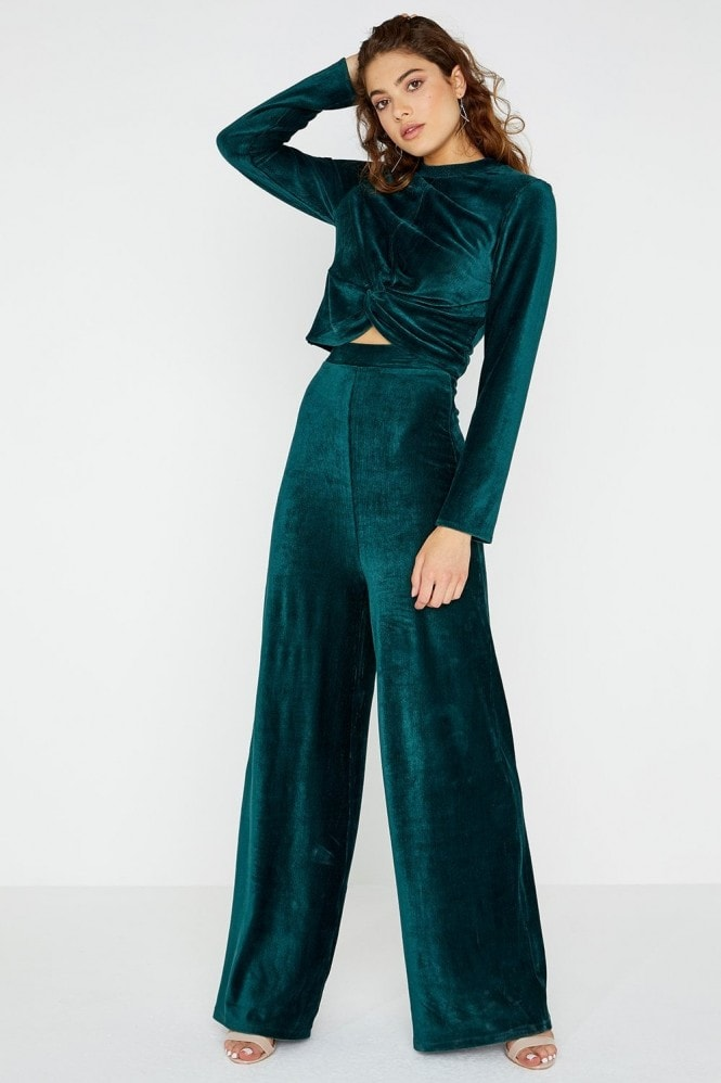 Girls on Film Marina Teal Velvet Knot Top