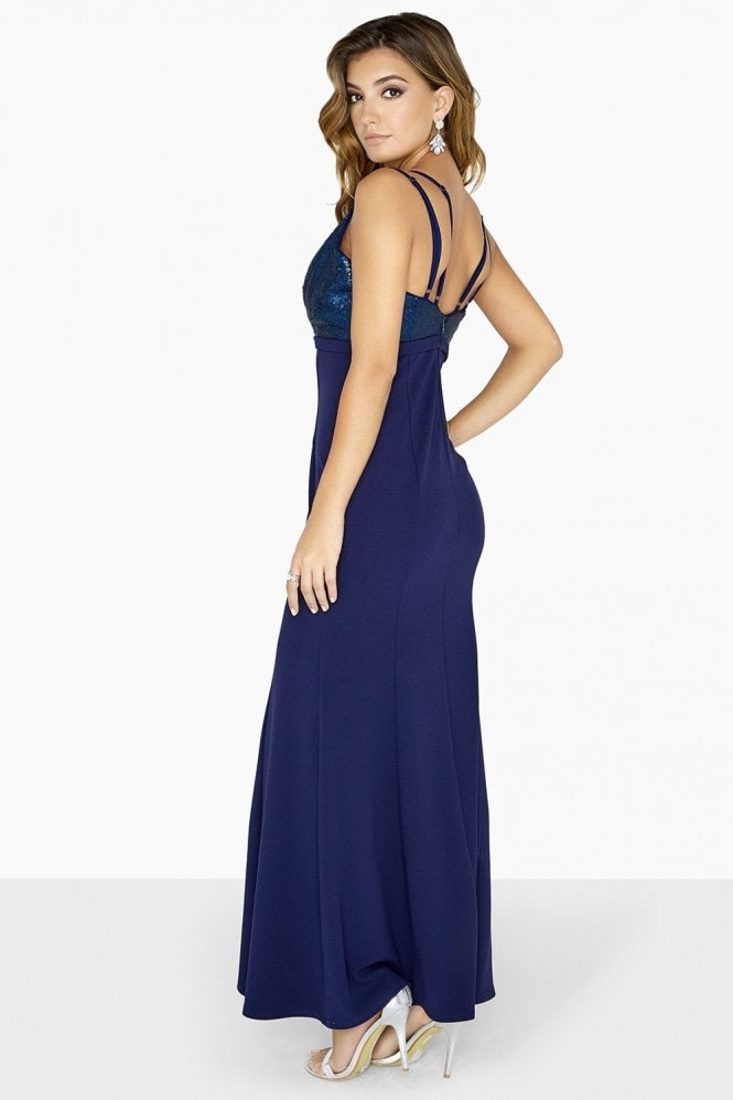 Little Mistress Tori Sequin Plunge Sheath Maxi Dress