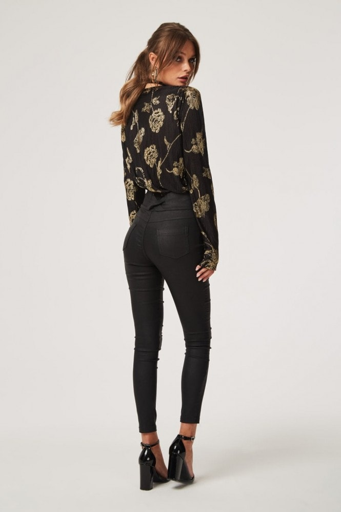 Girls on Film Zagat Black Floral Plisse Bodysuit