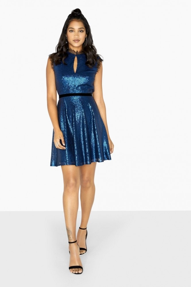 Little Mistress Tori Sequin And Lace Skater Dress