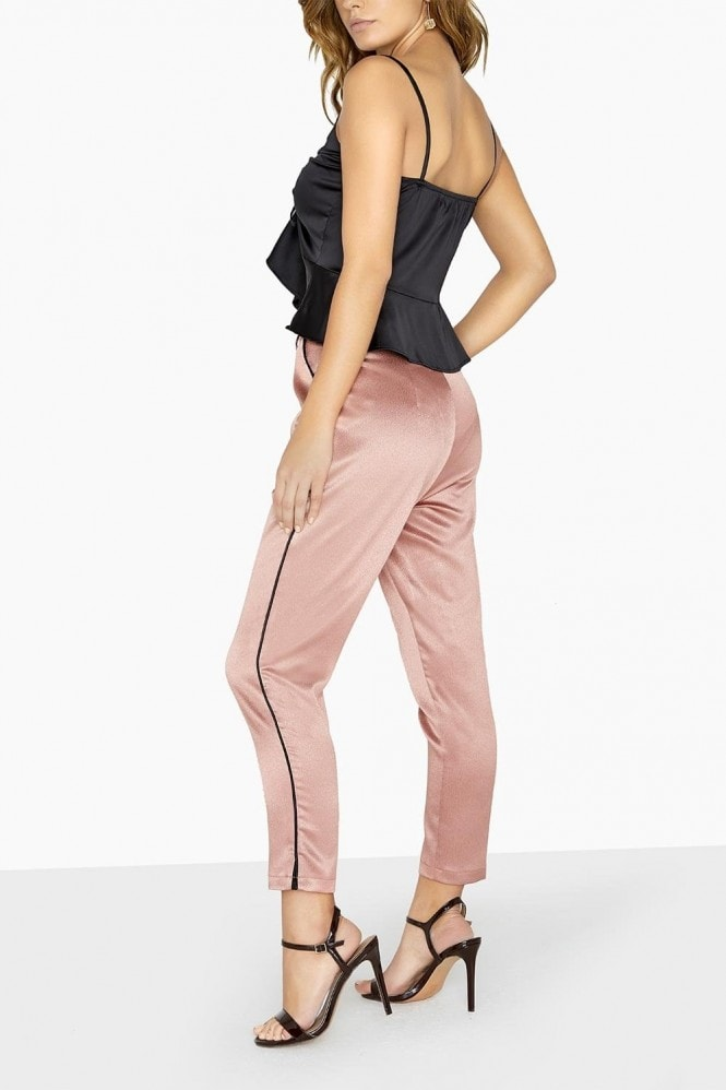 Little Mistress Whitney Satin Contrast Piping Trousers