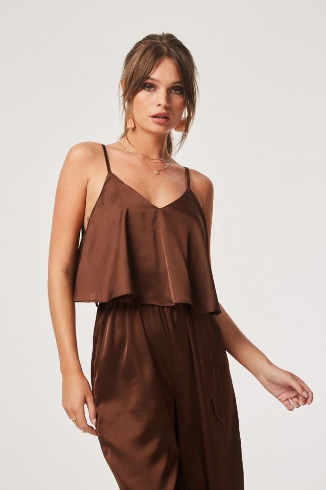 Girls on Film Jetset Satin Ruffle Overlay Jumpsuit